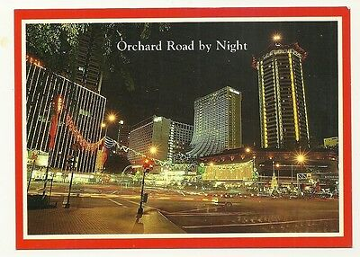 Singapore - a larger format, photographic postcard of Orchard Road by Night