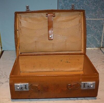 Vintage LEATHER hard case brown writing/suitcase  prop photography stage wedding
