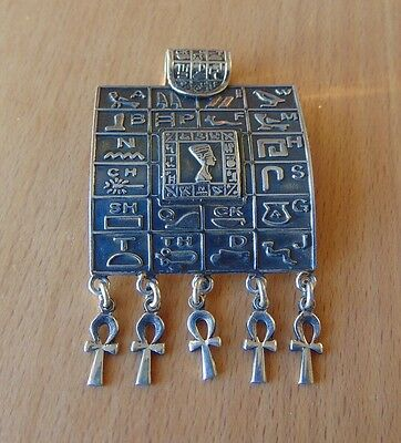 Egyptian Square Pendant with Hieroglyphic Alphabet - Sterling Silver