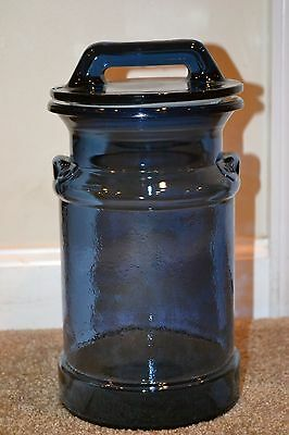 Collectible Large Dark Cobalt Blue Glass Milk Can Shaped Apothecary/Cookie Jar