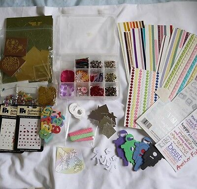 Job lot scrapbook/craft supplies - paper, stickers, card, ribbons tape, etc...