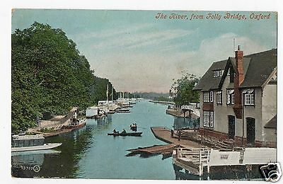 "Oxford "" The River From Folly Bridge"".  Vintage 1905 Postcard."