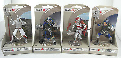Schleich Knights lot of 4 Medieval Action Figure Axe Halberd Red White Blue new