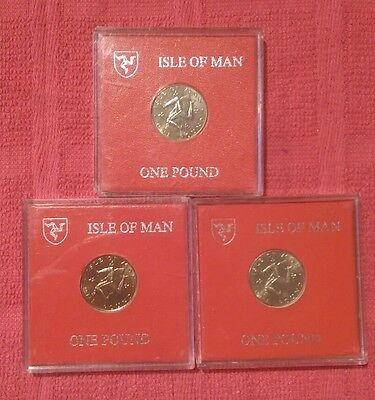 Isle of Man 3 X £1 Pound coin. 1978/1979/1980 all in original Slip Cases