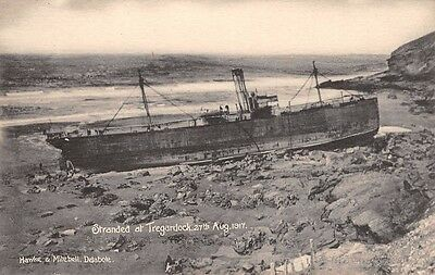 Cornwall -  TREGARDOCK, Shipwreck Stranded on the Beach - 27th August 1917