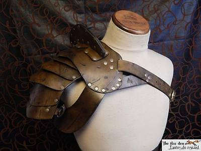Gladiator spartacus leather shoulder armor with neck protection. SCA, LARP
