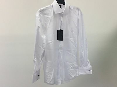 Mens White Standard Plain Formal Dinner Wedding Dress Shirt Size 15 - 12A469