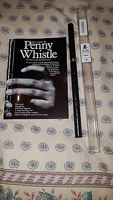 Tony Dixon PRO HIGH D WHISTLE, black plastic with brass slide with book.