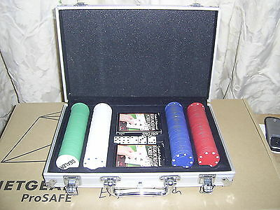 Metal Cased Set Of Poker Chips, Playing Cards And Dice