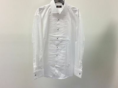 Mens White Standard Pleated Stud Button Formal Dress Shirt Size 16 12A477
