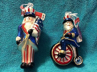 (Two) Celebrate It!:  Patriotic Holding Flag & Patriotic Riding A Bike Ornaments