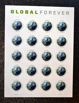 2013USA #4740 Global Forever Rate - Sheet of 20  -  Mint  NH  earth space sase