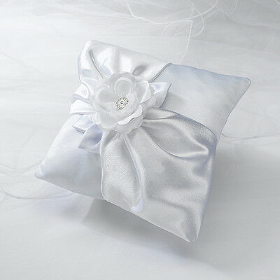 White Satin with Rose Ring Pillow Cushion Wedding Ceremony