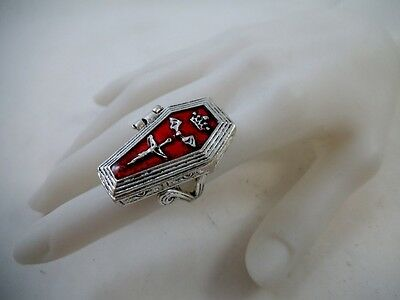 Coffin Poison Vampire Ring Size 7 Pagan Occult Alchemy Goth Punk Steampunk Wicca