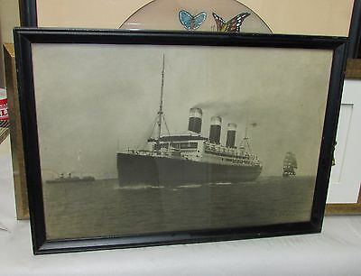 Antique Ocean Liner Photograph S.S. Leviathan signed Cruise Ship