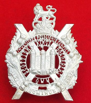 Silver King's Own Scottish Borderers Officers Bonnet Badge QE11 Crown Post 1952.