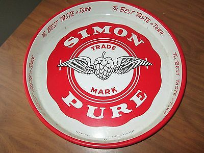 Vintage Beer Tray Simon Pure Old Abbey Ale 13""