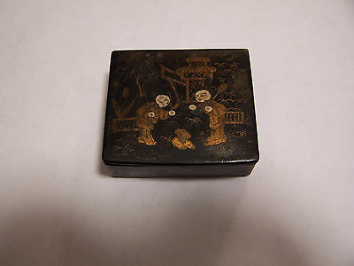 Antique Chinese black lacquer Chinoiserie trinket box,