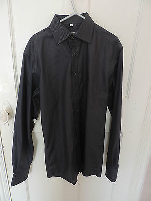 "BLACK DESIGNER ETERNA EXCELLENT SILVERLINE DRESS SHIRT 38"" Chest / 15"" Collar"