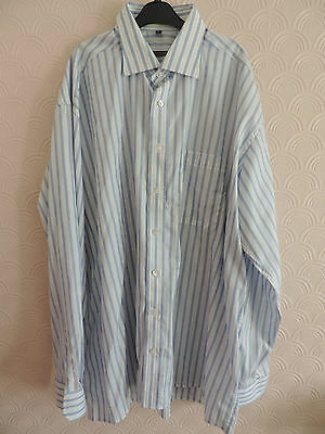 "BLUE AND WHITE DESIGNER ETERNA EXCELLENT DRESS SHIRT 43"" Chest / 17"" Collar"