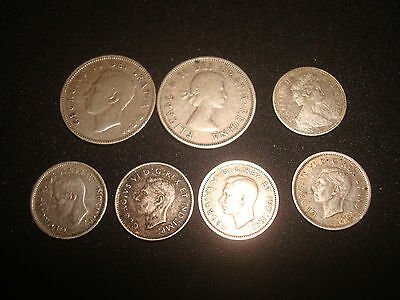 Lot Of Canada,canadian  10 Cents & 25 Cents Silver Coins