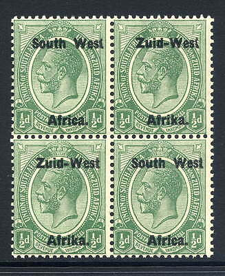 """South West Africa 1923 1/2D Block Of Four With Malformed """"t"""" Varieties Fine U/m"""