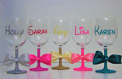 Personalised Disney Themed Name Glitter Wine Glass Birthday Hen Party(D Font)