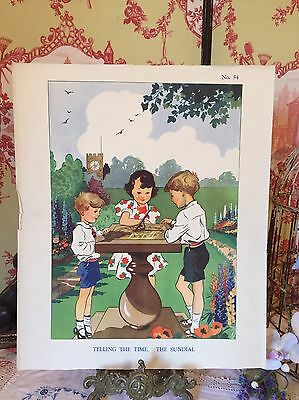 Enid Blyton School Poster Vintage Nature Print Telling The Time Sundial 1930s