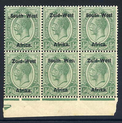 South West Africa 1923 1/2D Block Of Six With Three Excellent Varieties Fine U/m