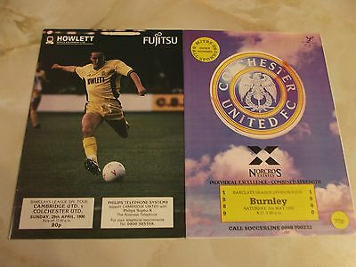 COLCHESTER UNITED LAST HOME and AWAY GAMES IN FOOTBALL LEAGUE SEASON 1989-90