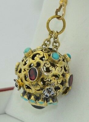 Victorian Austro Hungarian Persian Turquoise Garnet & Enamel Bauble Orb Pendant