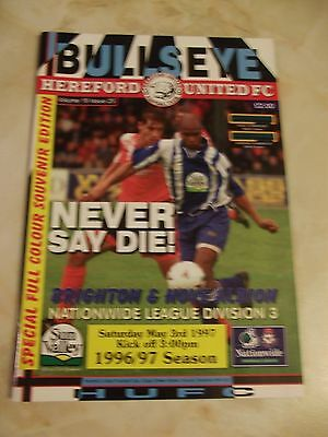 HEREFORD UNITED v BRIGHTON and HOVE ALBION SPECIAL RELEGATION ISSUE 1996-97