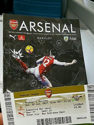 Arsenal v Burnley OFFICIAL MATCH DAY PROGRAMME with MATCH DAY TICKET