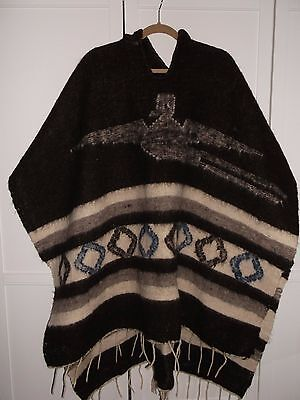 Vintage American Poncho Heavy Wool With Hood & Tassles Large Size Vgc