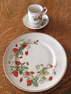 Avon Strawberry Porcelain Dessert Plate and Demi-Cup w/Saucer