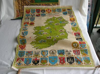 Vintage Irish Linen Kitchen Towel Arms & Seals of Towns,Cities of Ireland w map