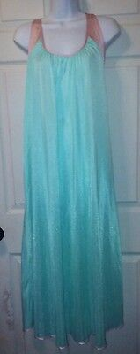 Vintage  Long Teal and Pink Nylon Nightgown Medium