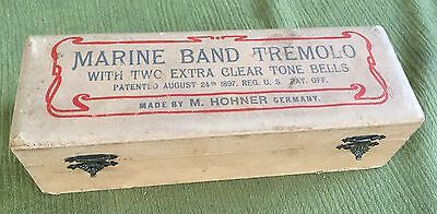 BOX ONLY! RARE 1897 Marine Band Tremolo Harmonica w/ Two Extra Clear Tone BELLS