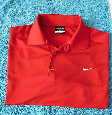 NIKE GOLF. DRI-FIT RED SHORT SLEEVE POLO SHIRT.(Size..Large).