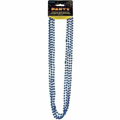 Metallic Blue Bead Necklaces, Pack of 4