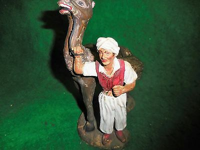 Rare  Large Old 1920s Italian Nativity Camel & Herder Statue. LAST WEEK!!.