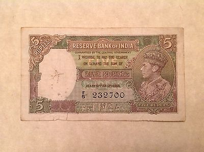 -British India Five 5  Rupees 1937 Series Banknote George VI P 18 a