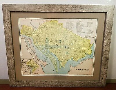 "VINTAGE - Authentic MAP of Washington D.C. **1902**  ""President's House""  FRAMED"