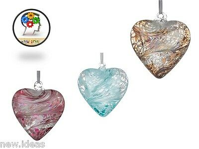 Glass Friendship Heart Hand Crafted Mouth Blown  Room Hanging Decoration 12 cm