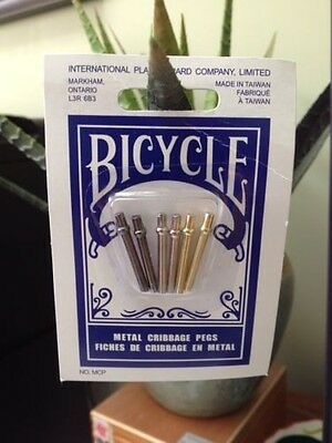 Great Gift   Metal Cribbage Pegs - Set of 6 - Brand New - Bicycle Brand