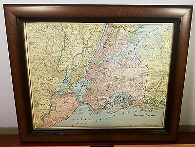"""VINTAGE Authentic Map of """"Greater New YorK"""" *1902* + 2 ADDITIONAL MAPS!! -FRAMED"""