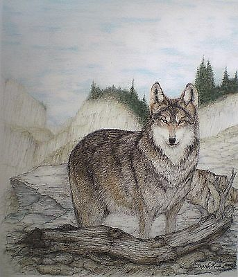 ACEO Art Trading Card Wolf Miniature Picture Animal Drawing Wildlife