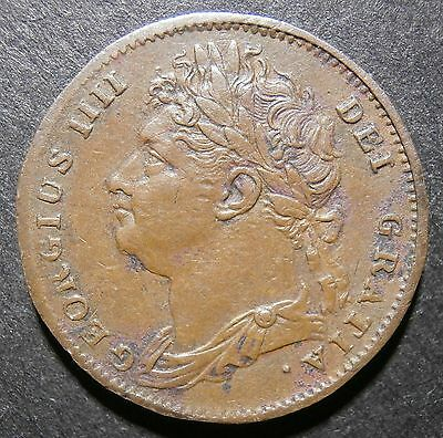 Farthing 1822 - George IV - doublestruck D over D in DEF & leaf ribs incuse