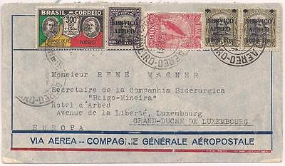 Brazil 1931 env with 5 stamps, SIDERURGICA to LUXEMBOURG