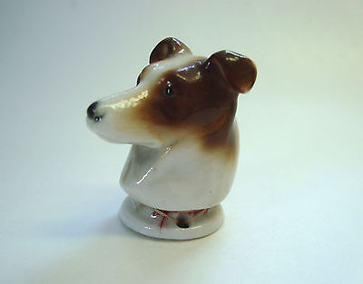 Antique German Porcelain Jack Russell Dog Head Half Doll Pincushion 3